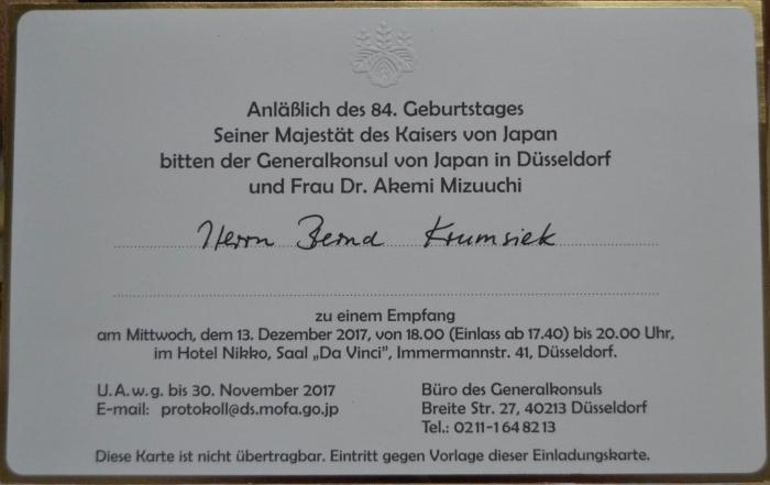 Empfang des Generalkonsuls von Japan